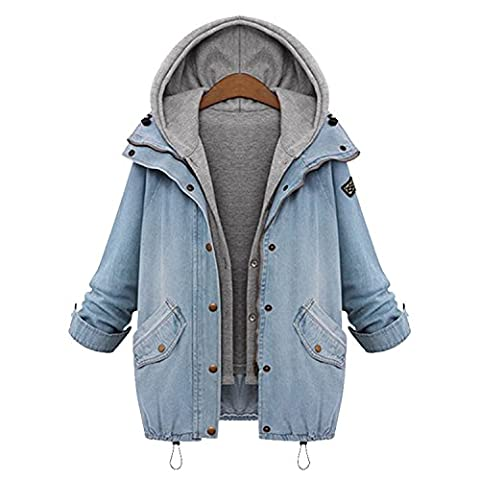 Fire source Women's Fashion Adult Jeans Cardigans Casual 2 in 1 Hoodies Denim Coat Outwear with Cotton Hoodie Vest