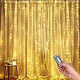Luci per Tende a LED, DazSpirit Tenda luminosa Luci Cascata per Finestra, 3M x 3M 300LEDs USB 8 Modalità e Resistenza all'acqua - Per Esterni, Interni, Natale, Camera da Letto, Giardino e Soffitto