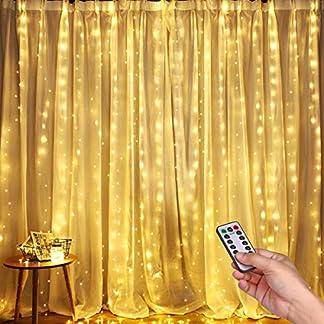 Luces LED Cadena de Cortina, DazSpirit luces decorativas de ventana de 3M*3M, Blanco Cálido, USB 8 Modos y Resistencia al agua, Para Exteriores, Interiores, Navidad, Dormitorios, Jardines y Techos