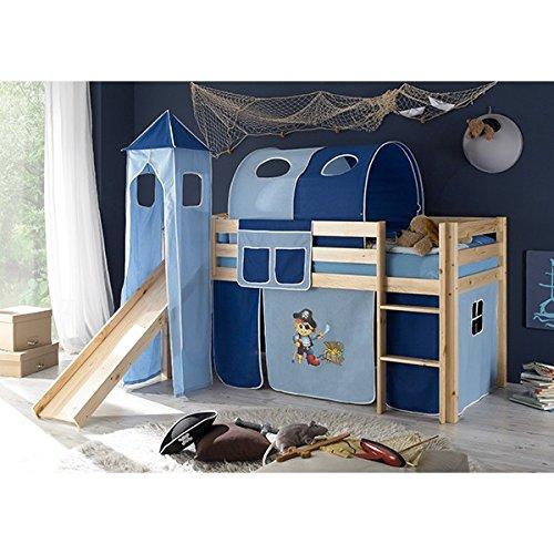 Rutschbett Kiefer massiv natur – Hochbett Kinderbett Spielbett Massivbett