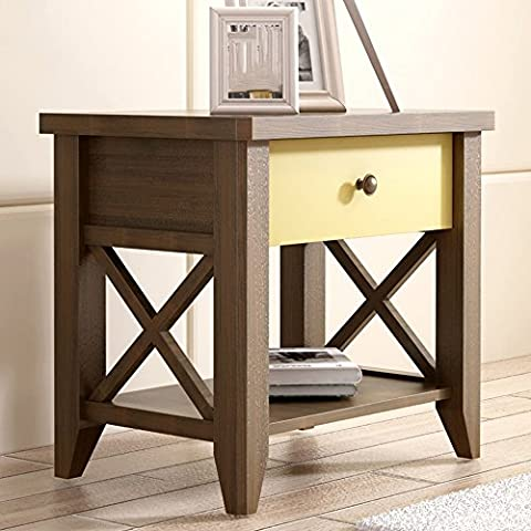 C-T-G Armoire de chevet meubles en bois massif casiers salon tiroir Side Side Storage Cabinet