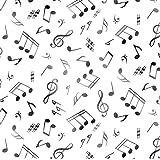 Fat Quarter–Live Jazz Notas Musicales Blanco 100% algodón Tela Para almazuela