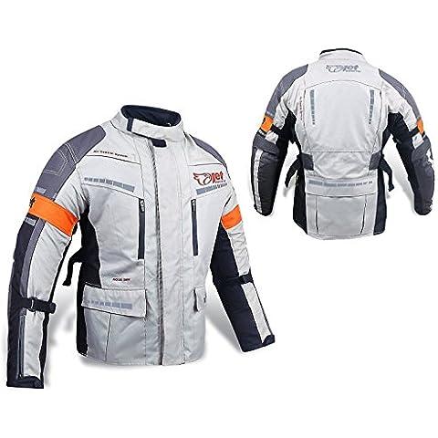 Para hombre plata/gris textil para moto chaqueta de Moto impermeable ce blindado, 2XL (44