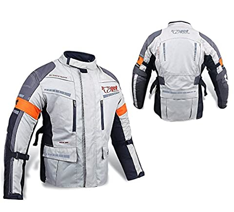 Mens Silver/Grey Textile Motorcycle Motorbike Jacket Waterproof CE Armoured (S (36
