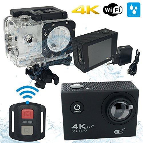 Caméra Sport 4K Full HD Wi-Fi Étanche 30M 16MP 170 °Grand-angle 2 pouces LCD avec Télécommande Batteries Rechargeables et 18 Accessoires