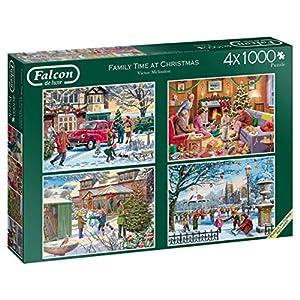 Jumbo Falcon de Luxe Family Time at Christmas 4 x 1000 pcs Puzzle - Rompecabezas (Puzzle Rompecabezas, Navidad, Adultos, Niño/niña, 12 año(s), Interior)