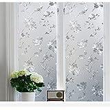 KREEPO Privacy Window Film White Window Flower Frosting Film Window Sticker Window Frosted Vinyl Sheets for Front Door/Bathro