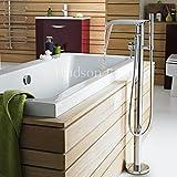 Hudson Reed Freistehende Wannenarmatur - Armatur für Freistehende Badewannen aus Verchromtem Messing - mit Handbrause und Wasserfall-Einlauf - Anti-Kalk System - Modernes Design