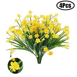 Lvcky – Juego de 4 flores artificiales artificiales de camelia pequeña realista de plástico con diseño de flores verdes arbustos
