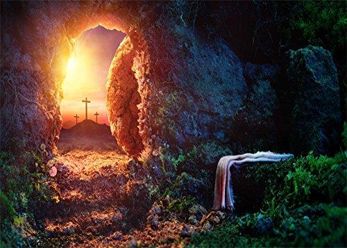 YongFoto 3x2m Kreuz Hintergrund Jesus verwitterter Mountain Höhle Arch Tür Grün Pflanzen Holy Lights Sunrise Hintergründe die Fotografie Kinder Erwachsene Happy Easter Foto Hintergrund Studio (Arch Tür)