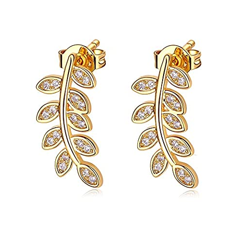 LANMPU Bohemia Style Nine Leaves Long Fashion Studs Gold Earrings for Women