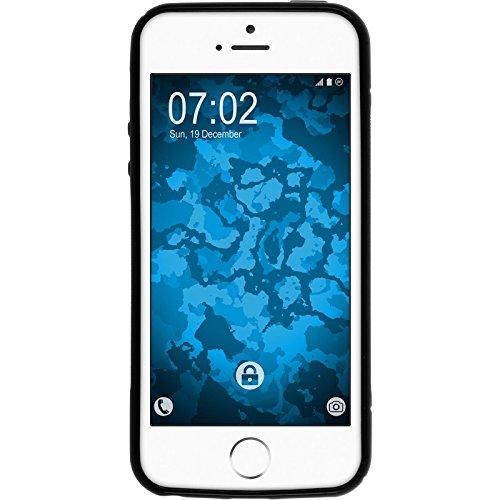 PhoneNatic Case für Apple iPhone SE Hülle Silikon blau S-Style Logo Cover iPhone SE Tasche + 2 Schutzfolien Schwarz