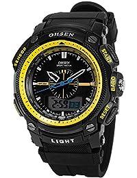 OHSEN LCD Dual Core para hombre Mujer Deporte Fecha Día Amarillo cronómetro Negro Goma Reloj de regalo