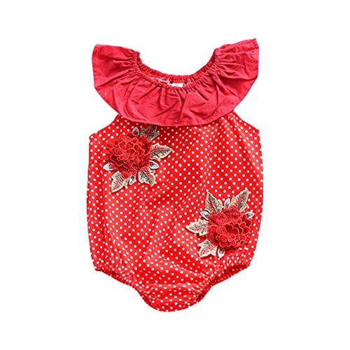 ESHOO Mädchen Blume Polka Dot Drucken Strampler Overall Outfits Babykleidung (Sunsuit Polka Dot)