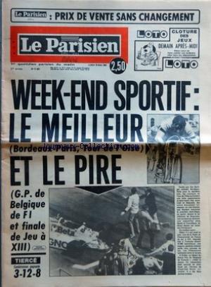 PARISIEN LIBERE (LE) [No 11401] du 18/05/1981 - WEEK END SPORTIF - LE MEILLEUR BORDEAUX PARIS TOUR DE L'OISE ET LE PIRE GP DE BELGIQUE DE FI ET FINALE DE JEU A XIII