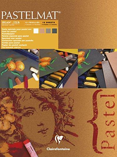 Clairefontaine 96008C Zeichenblock Pastelmat (12 Blatt, 30 x 40 cm, 360 g, mit 4 transparenten...
