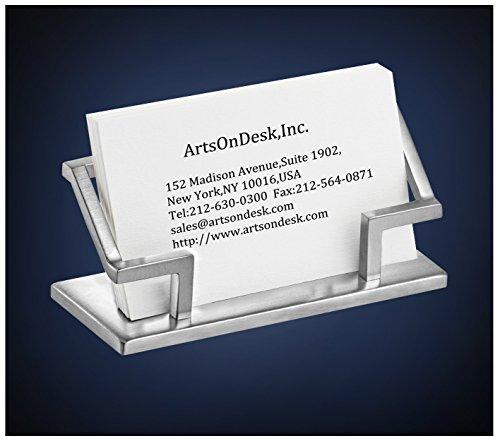 ArtsOnDesk Moderne Kunst Visitenkartenhalter St201 Edelstahl Satiniert Visitenkartenständer Visitenkartenaufsteller Visitenkarten-Etui Visitenkarte Schreibtisch-Accessoire Schreibtisch Geschenk