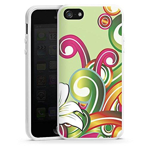 Apple iPhone 5s Housse Étui Protection Coque Fleur Fleur Motif floral Housse en silicone blanc