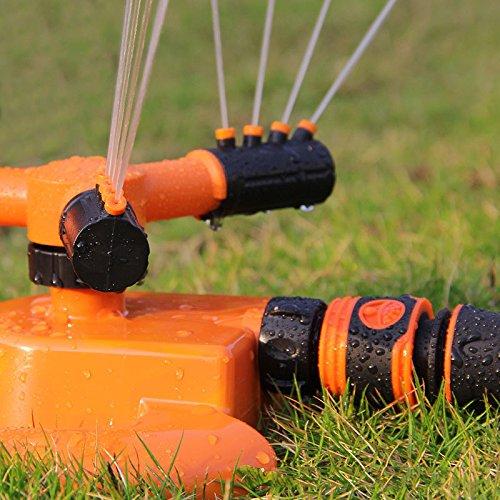 360° Automatische Rasen Wasser Sprüher Rasensprenger Sprinkler 3-Arm Drehbar