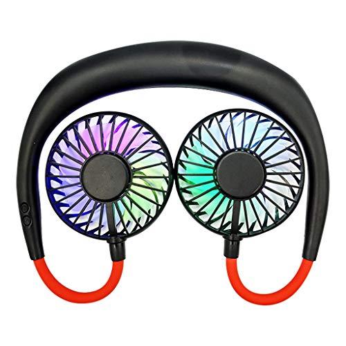 Tragbare USB Ventilator, LED Licht Mini-tragbarer Fan Sport Hängender Wiederaufladbarer Nackenbügel Hängender Doppelter Dual-Lüfter Kühlventilator (Schwarz)