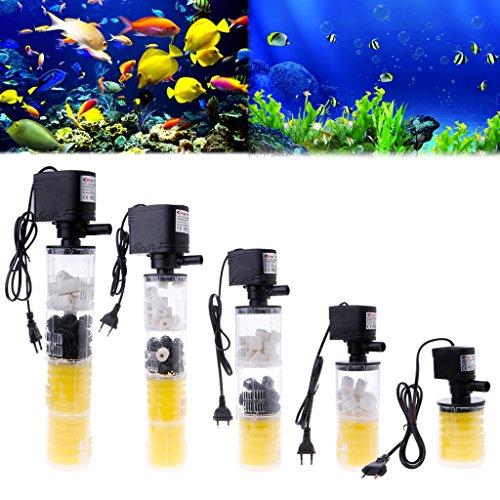 Sunhoyu Interner Wasserfilter, 3 In1 1000-3500L / H Versenkbare Wasser-interne Filterpumpe Für Aquarium (Interne Filter Aquarium)