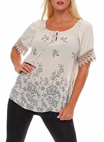 Malito Damen Bluse in Vielen Farben und Formen | Oberteile mit Verschiedenen Mustern - Shirts 7213 (Beige-Blume)