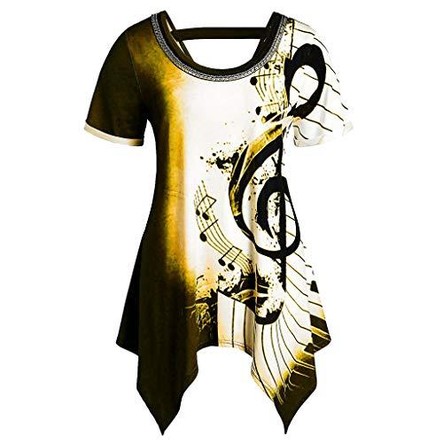 Alwayswin Frauen Asymmetrische Bluse Musiknoten Drucken T-Shirt Kurzarm Lose T-Shirt Lange Damen T Shirt Bequem Oberteile Sweatshirt Pullover Tops Rundhalsausschnitt Sommer -