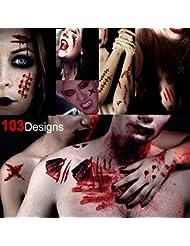 Howaf Halloween Tatouages temporaire pour homme femmes, Étanche Tatouages éphémères Halloween Autocollant tattoo Zombie Faux Sang Blessure Cicatrice Plaie Costume Maquillage Cosplay, 10 feuilles