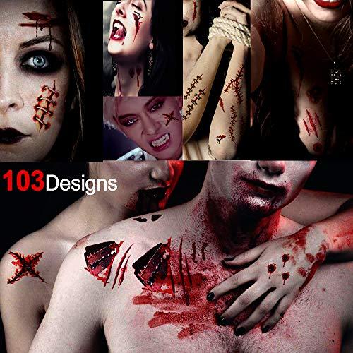 Howaf halloween zombie cicatrici vampire tatuaggi temporanei, falso tatuaggio temporaneo tattoos adesivi corpo per adulti donna uomo bambini halloween decorazione horror trucco cosplay - 10 fogli