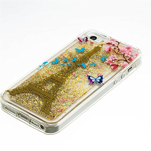iPhone 5C Hülle, 5C Hülle, Gift_Source [ Silber & Crown Angel ] Glitzer Hülle , Liquid Case, Glitter Hülle Cool 3D Fließen Flüssig Bling Schwimmend Treibsand Stern Luxus Shiny Case Glanz Shiny Effekt  E1-Eiffelturm