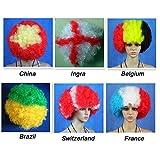 XINGQIANRU Fête Des Enfants Fan Wig Stage Performance Hommes Et Femmes Jouer Clown Couleur Explosion Perruque Fringe,Chineseflagcolors