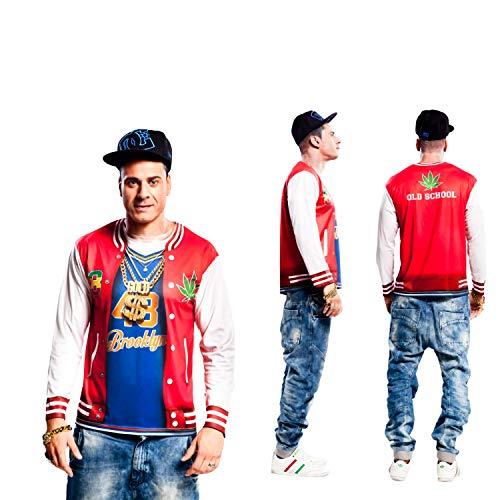 Rapper Für Kostüm Erwachsene - Partychimp 83-Y00053 - Rapper T-Shirt, Erwachsene, XL, rot