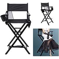 ALTERDJ Regiestuhl Make Up Stuhl Holz Klappstuhl Direktor Stuhl mit Seite Taschen Schwarz 45 x 55 x 122 cm