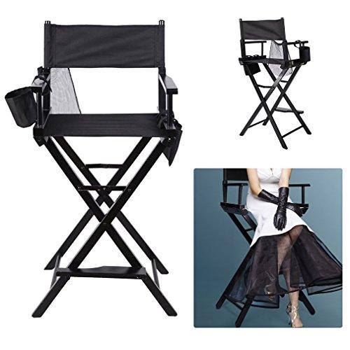 Blackpoolal Klappbar Make up Stuhl Regiestuhl Klappstuhl Faltstuhl mit Seitentaschen Max Gewicht 120kg Holz 122CM Schwarz