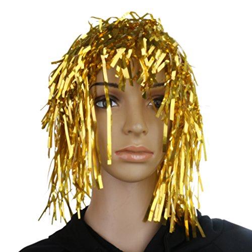 Lametta Perücke Kostüm - Blesiya Lametta Perücke Junggesellenabschied Kostüm Zubehör - Gold
