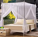 ZQYY Moskitonetz 3 Seitliche Öffnungen,für Doppelbett Mückennetz Insektenabwehr Rechteckige Indoor Prinzessin Moskitonetz Waschbar, 2 Meter Hoch- Weiß,2 * 2.2mbed