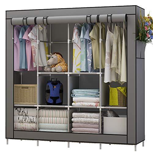 Udear armadio richiudibile cabina salvaspazio guardaroba non tessuto appendiabiti in tessuto con cerniera (grigio)