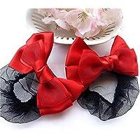 CHENFUI Haarnetz für Kinder oder Mädchen, mit Schleife, zum Tanzen, 2 Stück, rot, 5 cm