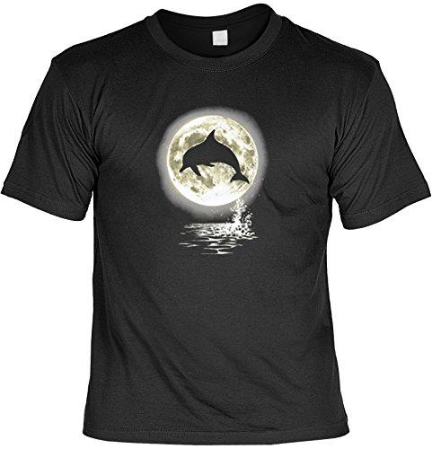 cooles Tier-T-Shirt mit Motiv Delphin im Mondschein ideal auch als Geschenk für den Naturliebhaber, Farbe schwarz Schwarz