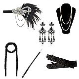 DRESHOW 1920er Jahre Flapper Gatsby Kostüm Zubehör Set Vintage Stirnband Ohrringe Halskette Handschuhe Zigarettenspitze