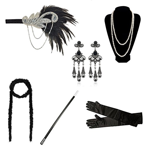 DRESHOW 1920s Flapper Gatsby Costume Accessories Set Vintage Diadema Pendientes Collar Guantes Cigarette Holder