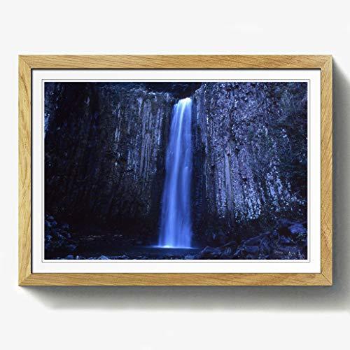BIG Box Art Landschaft Japan Wasserfall Print mit schwarzem Rahmen, Mehrfarbig, Größe A2, 24,5x 18_ P, Holz, Eiche, 24.5 x 18-Inch/A2 -