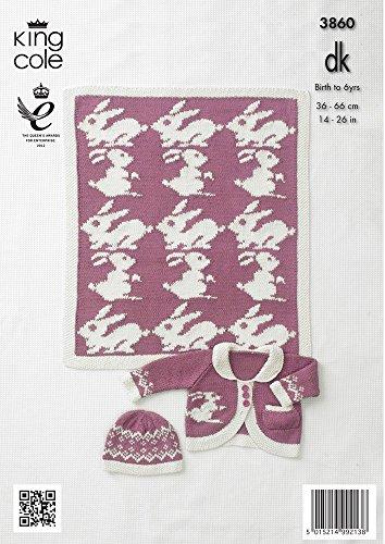 King Cole Strickmuster Grils 3860 Kleid, Cardigan, Mütze und Decke/Überwurf, in King Cole Strickwolle, Bambus/Baumwolle, DK-Wolle (Für Kleid Grils)