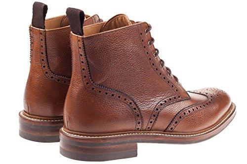 John White BOURTON Mens Leather Brogue Derby Boots Tan peau