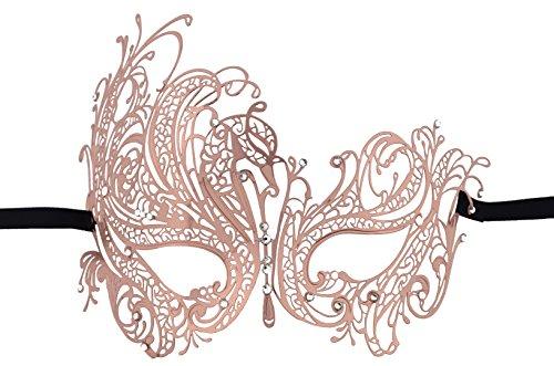 Masquerade Maske mit glänzendem klarem Rhinestone für Halloween Party Mardi Gars (Rose Gold) (Einzigartige Mutter Tochter Halloween Kostüme)