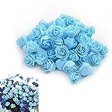 50 Pcs Künstliche Blumen Köpfe aus PE-Schaum Hochzeitsdekoration von MAXGOODS, Blau