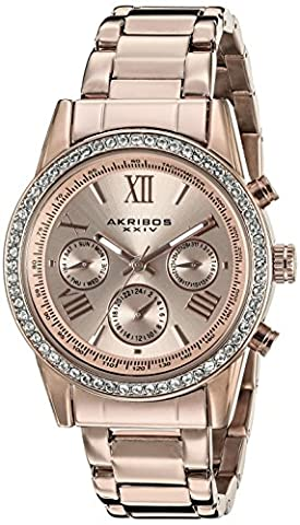 Akribos XXIV Women's Exquisite Multifunction Watch with Rose Gold-Tone Dial