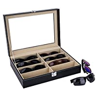 Autoark Leather Eyeglasses Storage and Sunglass Glasses Display Drawer Lockable Case Organizer