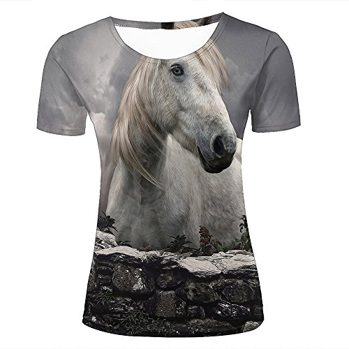 Damen Tshirts Fashion 3D Print Graphic White Animal Horse Unisex Tees M