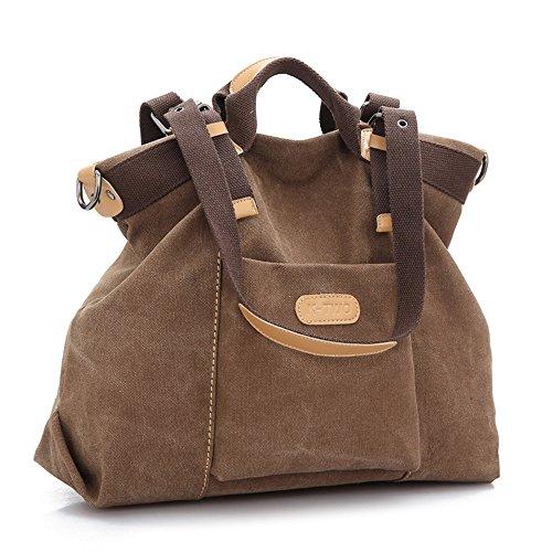 Alliswell Vintage-2 in 1-Schulter-Beutel / Canvas Schultertasche große Kapazitäts-Bag Messenger Bag (braun) (Vintage Schulter Und Tasche 1)